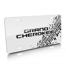 Jeep Grand Cherokee Tire Mark Graphic White Aluminum License Plate