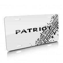Jeep Patriot Tire Mark Graphic White Aluminum License Plate