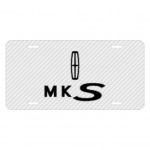 Lincoln MKS White Carbon Fiber Texture Graphic UV Metal License Plate