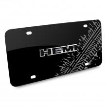 HEMI 3D Logo Tire Mark Black Metal License Plate