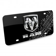 RAM 3D Logo Tire Mark Black Metal License Plate