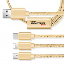 Ford F-150 Raptor 3 in 1 Golden 4 Ft Premium Multi Charging Cord USB Cable