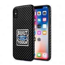 Ford Built Ford Tough iPhone X Black Carbon Fiber Texture Leather TPU Shockproof Cell Phone Case