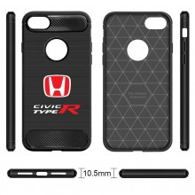 iPhone 7 Case, Honda Red Logo Civic Type R Shockproof Black Carbon Fiber Textures Stripes Cell Phone Case
