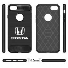 iPhone 7 Plus Case, Honda Logo Shockproof Black Carbon Fiber Textures Stripes Cell Phone Case