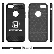 iPhone 7 Case, Honda Logo Shockproof Black Carbon Fiber Textures Stripes Cell Phone Case