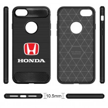 iPhone 7 Plus Case, Honda Red Logo Shockproof Black Carbon Fiber Textures Stripes Cell Phone Case