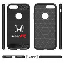iPhone 7 Plus Case, Honda Civic Type-R Shockproof Black Carbon Fiber Textures Stripes Cell Phone Case