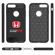 iPhone 7 Plus Case, Honda Red Logo Civic Type-R Shockproof Black Carbon Fiber Textures Stripes Cell Phone Case