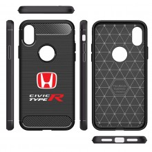 Honda Red Logo Civic Type-R Shockproof Black Carbon Fiber Textures Stripes Cell Phone Case