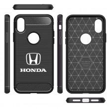Honda Logo Shockproof Black Carbon Fiber Textures Stripes Cell Phone Case