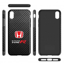 Honda Red Logo Civic Type-R Black Carbon Fiber Texture Leather TPU Shockproof Cell Phone Case