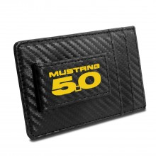 Ford Mustang 5.0 in Yellow Black Carbon Fiber RFID Card Holder Wallet