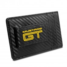 Ford Mustang GT in Yellow Black Carbon Fiber RFID Card Holder Wallet