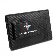 Ford Mustang Tri-Bar Logo Black Carbon Fiber RFID Card Holder Wallet