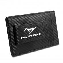 Ford Mustang Black Carbon Fiber RFID Card Holder Wallet