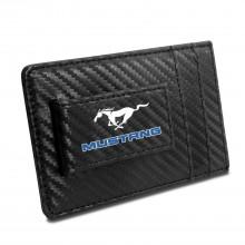 Ford Mustang in Blue Black Carbon Fiber RFID Card Holder Wallet