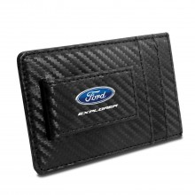 Ford Explorer Black Carbon Fiber RFID Card Holder Wallet