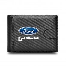 Ford F150 2015 Black Slim Real Leather Carbon Fiber Patterns RFID Blocking Bi-fold Wallet