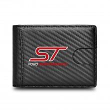 Ford Focus ST Black Slim Real Leather Carbon Fiber Patterns RFID Blocking Bi-fold Wallet