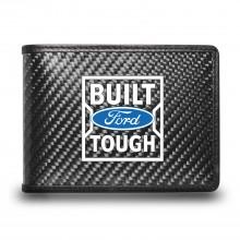 Ford Built Ford Tough Black Real Carbon Fiber Leather RFID Blocking Bi-fold Wallet