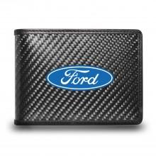Ford Logo Black Real Carbon Fiber Leather RFID Blocking Bi-fold Wallet
