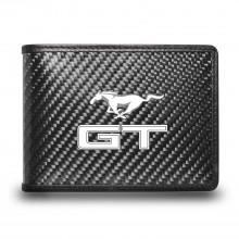 Ford Mustang GT Black Real Carbon Fiber Leather RFID Blocking Bi-fold Wallet