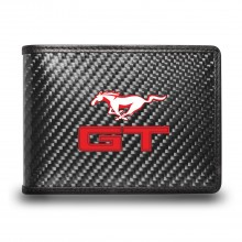 Ford Mustang GT in Red Black Real Carbon Fiber Leather RFID Blocking Bi-fold Wallet