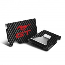 Ford Mustang GT in Red RFID Blocking Black Real Carbon Fiber Slim Credit Card Wallet with Metal Money Clip
