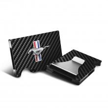 Ford Mustang Tri-Bar Logo RFID Blocking Black Real Carbon Fiber Slim Credit Card Wallet with Metal Money Clip