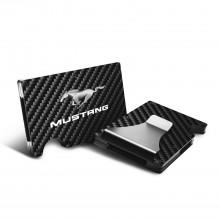 Ford Mustang RFID Blocking Black Real Carbon Fiber Slim Credit Card Wallet with Metal Money Clip