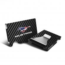 Ford Mustang inUSA Flag RFID Blocking Black Real Carbon Fiber Slim Credit Card Wallet with Metal Money Clip