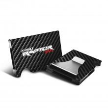 Ford F-150 Raptor SVT 2010 to 2014 RFID Blocking Black Real Carbon Fiber Slim Credit Card Wallet with Metal Money Clip
