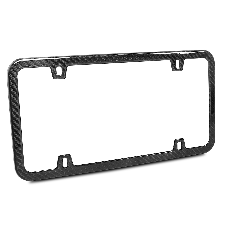 Real Carbon Fiber UV Resistant Glossy Finish 4 Holes Black Slim License Plate Frame