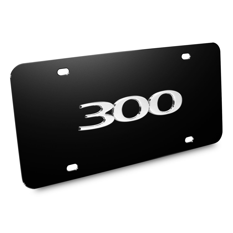 Chrysler 300 3D Logo Black Stainless Steel License Plate