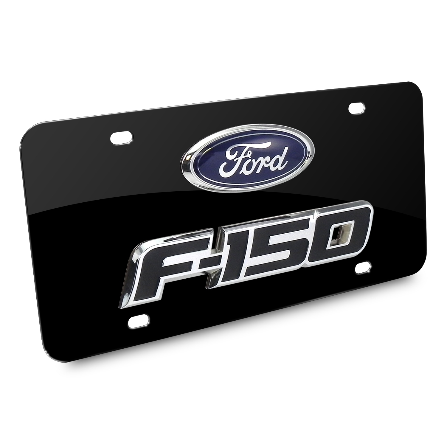 Ford F-150 Double 3D Logo Black Stainless Steel License Plate