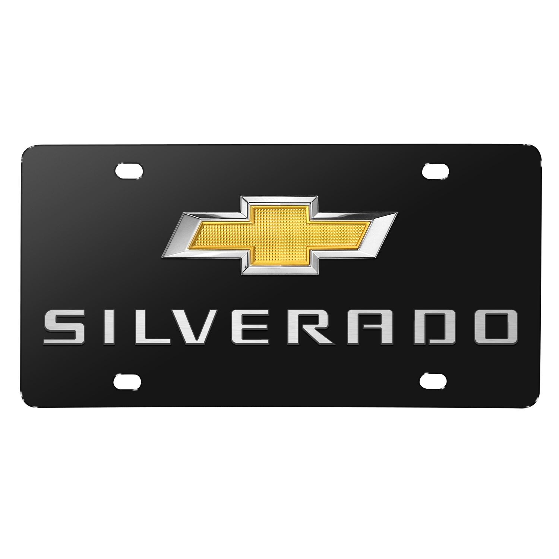 Chevrolet Silverado New Gold Bowtie 3D Logo Black Stainless Steel License Plate