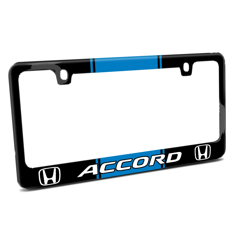 Honda Accord Blue Racing Stripe Black Metal License Plate Frame
