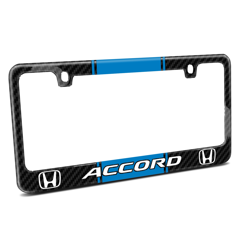 Honda Accord Blue Racing Stripe Black Real Carbon Fiber License Plate Frame