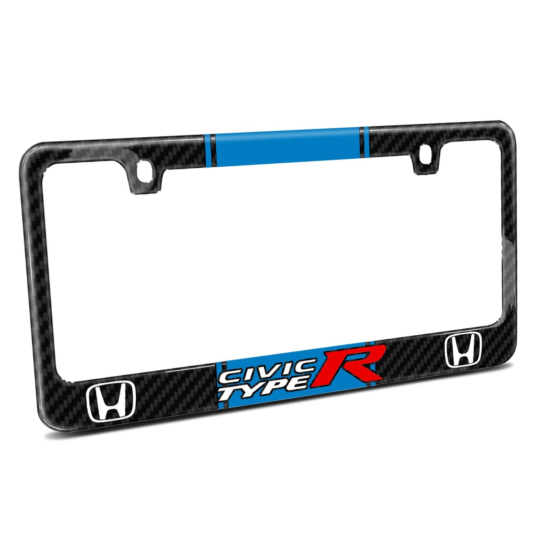 Honda Civic Type R Blue Racing Stripe Black Real Carbon Fiber License Plate Frame