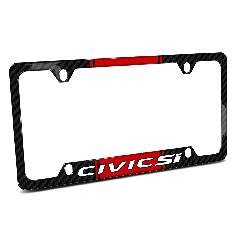 Honda Civic Si Red Racing Stripe Black Real Carbon Fiber 50 States License Plate Frame