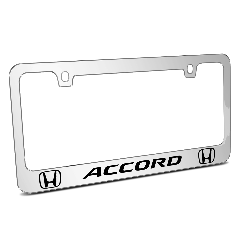 Honda Accord Dual Logo Mirror Chrome Metal License Plate Frame