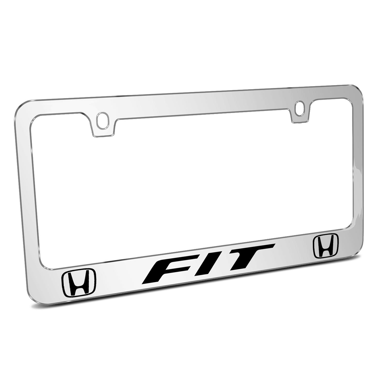 Honda Fit Dual Logo Mirror Chrome Metal License Plate Frame