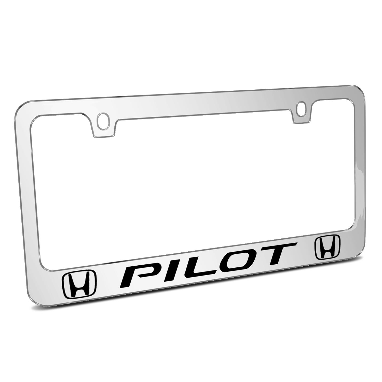 Honda Pilot Dual Logo Mirror Chrome Metal License Plate Frame