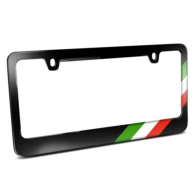 Italy Flag Off-center Sports Stripe Black Metal License Plate Frame
