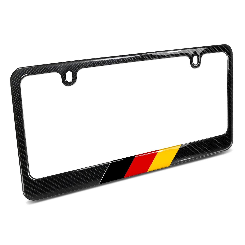 Real Black Carbon Fiber German Flag in Sports Stripe License Plate Frame