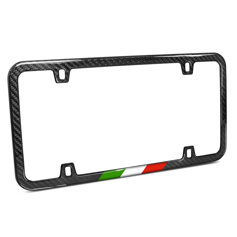 Slim Real Black Carbon Fiber Italy Flag in Sports Stripe License Plate Frame