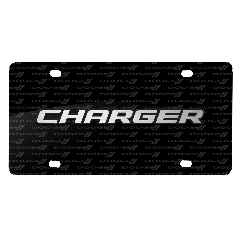 Dodge Charger 3D Logo on Logo Pattern Black Aluminum License Plate