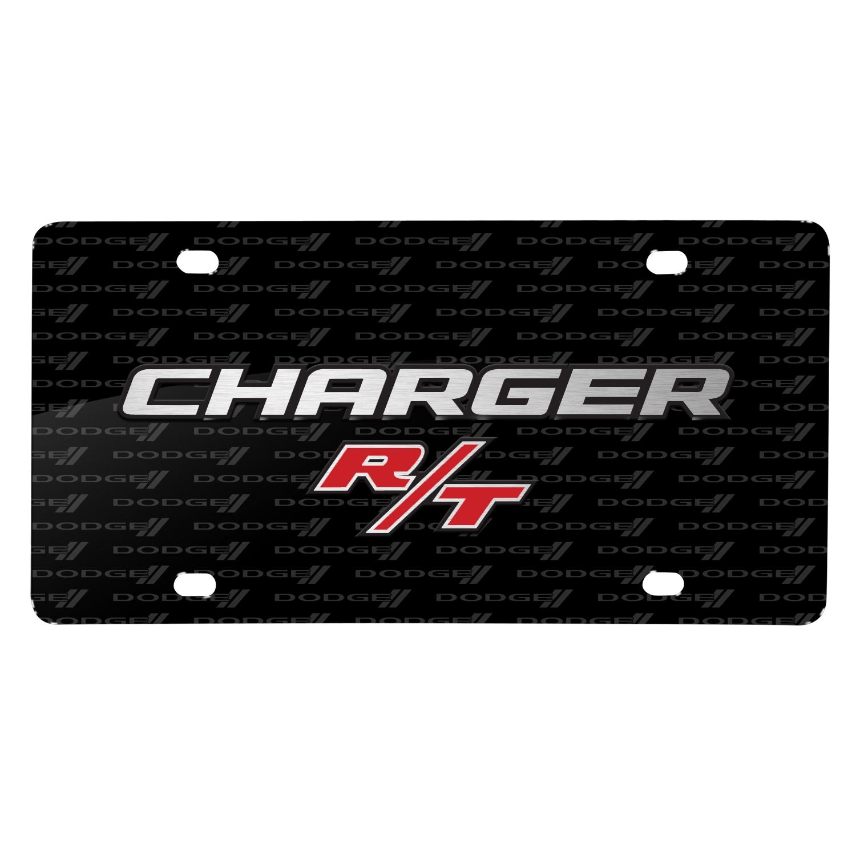 Dodge Charger R/T 3D Logo on Logo Pattern Black Aluminum License Plate