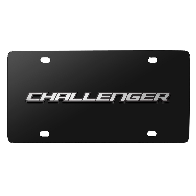 Dodge Challenger 3D Logo on Black Stainless Steel License Plate